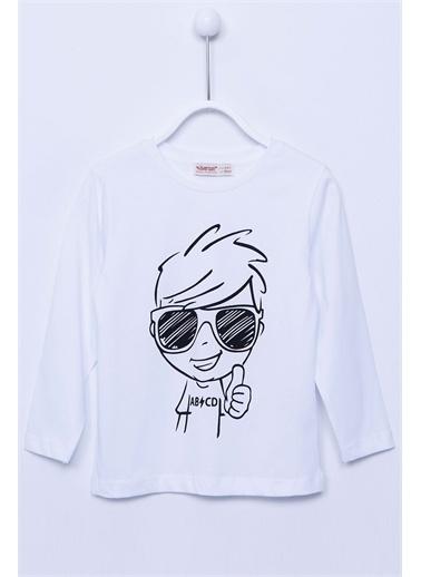 Silversun Kids Baskılı Uzun Kollu Örme Tişört Bk-213235 Beyaz